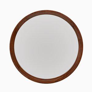 Espejo de pared circular con marco de nogal, años 70