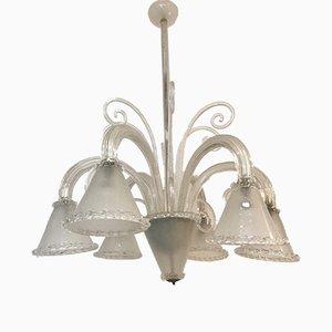 Lámpara de araña italiana vintage de cristal de Murano de Barovier & Toso