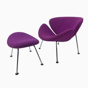 Orange Slice Lounge Chair U0026 Ottoman Set By Pierre Paulin For Artifort, 1960s