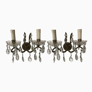 Vintage Italian Bronze & Crystal Sconces, Set of 2