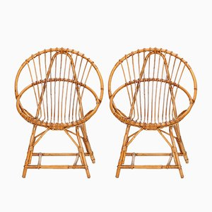 Rattan Garden Chairs from Rohé Noordwolde, 1950s, Set of 2