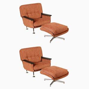 Italienische Sessel mit Fußschemel, 1960er, 2er Set