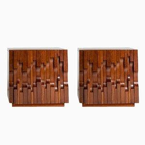 Tables de Chevet Norman en Noyer Plaqué par Luciano Frigerio, Italie, 1972, Set de 2