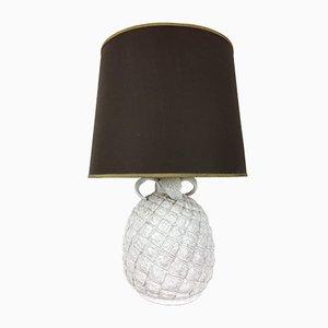 Lampe de Bureau Ananas en Céramique Blanche, Italie, 1960s