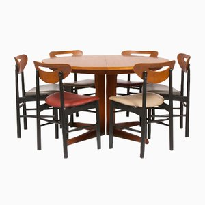 Teak Extendable Dining Table Set, 1960s