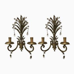 Lámparas de pared italianas vintage con gotas de cristal y cristal de Murano. Juego de 2