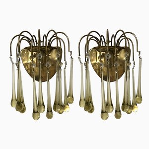 Vintage Italian Murano Glass Wall Lights, Set of 2