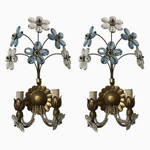 Apliques italianos vintage en forma de flor de cristal de Murano. Juego de 2