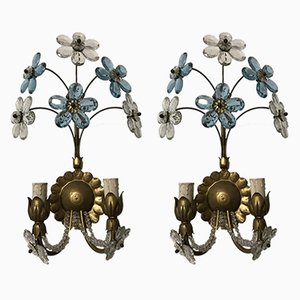 Vintage Italian Murano Glass Flower Sconces, Set of 2