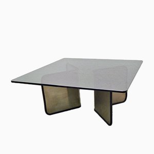Steel Coffee Table with Smoked Crystal Glass Top, 1970s