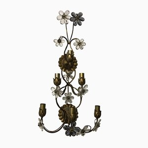 Large Vintage Italian Single Wall Light with Murano Glass Flowers