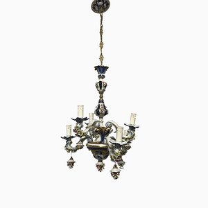 Vintage French Porcelain Flower Chandelier