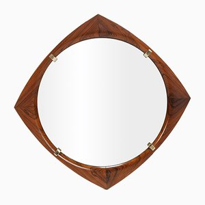 Rhomb-Shaped Rosewood Mirror, 1960s
