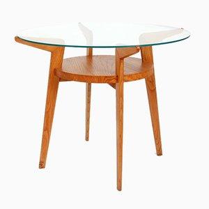 Tavolino da caffè Mid-Century in legno e vetro