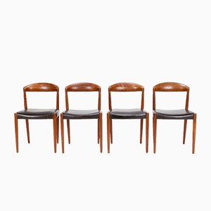Chairs in Teak and Leather by Knud Andersen, 1960s, Set of 4
