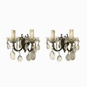 Vintage Italian Crystal Wall Lights, Set of 2