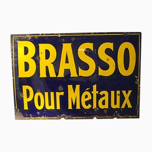 Vintage Enameled Brasso Sign, 1930s