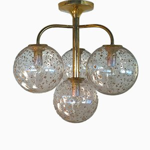 Brass Balls Ceiling Lamp with Gold Smelting, 1970s