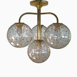 Lampada da soffitto in ottone con paralumi sferici in vetro e foglia d'oro, anni '70