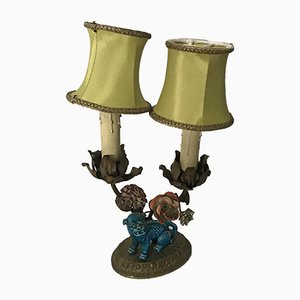 Bronze & Porcelain Table Lamp, 1940s