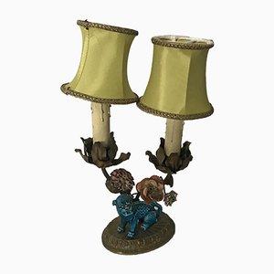 Lampe de Bureau en Bronze & Porcelaine, 1940s