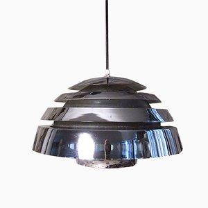 Lámpara colgante escandinava con reflector de metal cromado, años 60