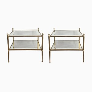 Vintage Glass & Brass Shelves, Set of 2