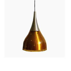 Pendant Lamp with Aluminum and Glass Shade, 1960s