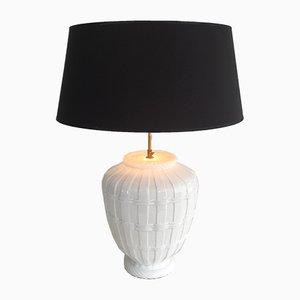 Lámpara de mesa vintage de cerámica blanca