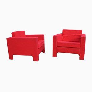 Poltrone rosse, anni '60, set di 2