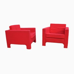 Red Armchairs, 1960s, Set of 2