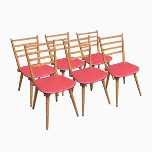 Vintage Stühle mit rotem Skai, 1950er, 5er Set