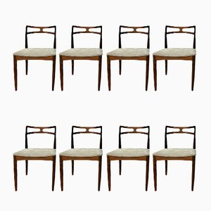 Danish Rosewood Dining Chairs by Johannes Andersen for Christian Linneberg, Set of 8