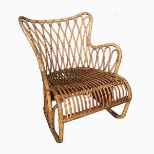 Swedish Rattan Lounge Chair, 1950s
