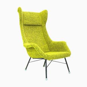 Sillón de orejas en verde y amarillo de Miroslav Navratil para Ton, años 60