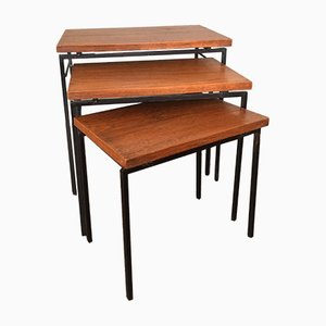 Vintage Nesting Tables with Teak Tops