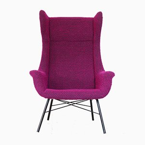 Purple Wingback Armchair by Miroslav Navratil for Ton, 1960s