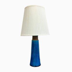 Lámpara de mesa danesa grande de gres con esmaltado en turquesa de Nils Kähler
