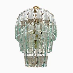 Lámpara de araña vintage de cristal de Murano con marco dorado