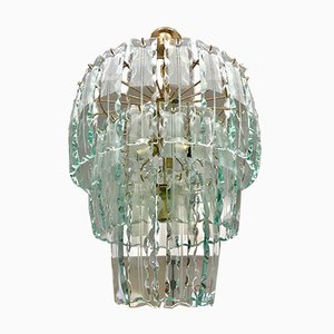 Vintage Murano Crystal Chandelier with Gilt Frame