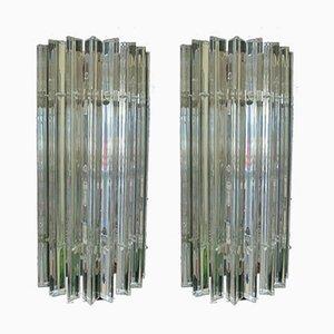 Aplique vintage de cristal de Murano con listones de vidrio. Juego de 2