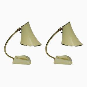 Lámparas de mesa amarillas, años 50. Juego de 2