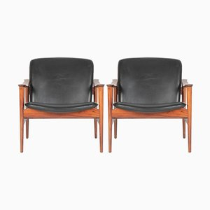 Modell 711 Armchairs by Fredrik A. Kayser for Vatne Lenestolfabrik, 1960s, Set of 2