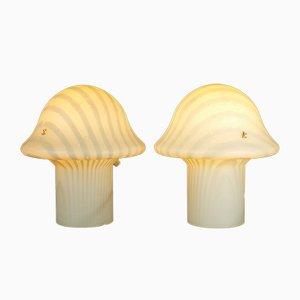 Lámparas hongo de vidrio de Peill & Putzler, años 60. Juego de 2