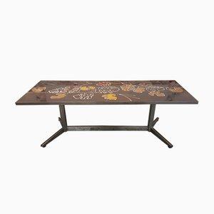 Brown & Orange Patterned Tile Table, 1960s