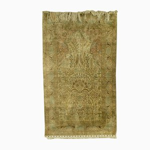 Antique Middle Eastern Prayer Isfahan Silk Rug, 1900s