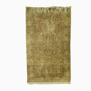 Antique Persian Prayer Isfahan Silk Rug, 1900s