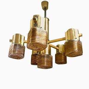 Lámpara de araña de cristal de Murano con seis brazos de Gaetano Sciolari, años 60