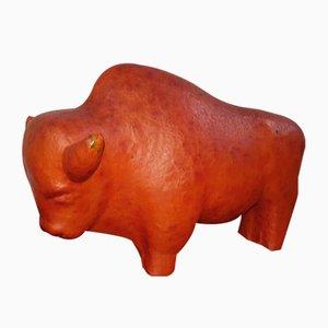 Vintage Ceramic Buffalo Sculpture by Kurt Tschörner for Ruscha, 1960s