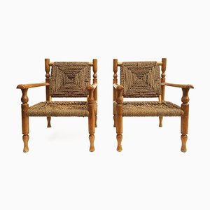French Sisal Rope Armchairs, 1950s, Set of 2